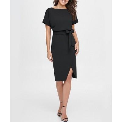 ケンジー レディース ワンピース トップス Textured Knit Boat Neck Tie Waist Short Sleeve Blouson Dress Black