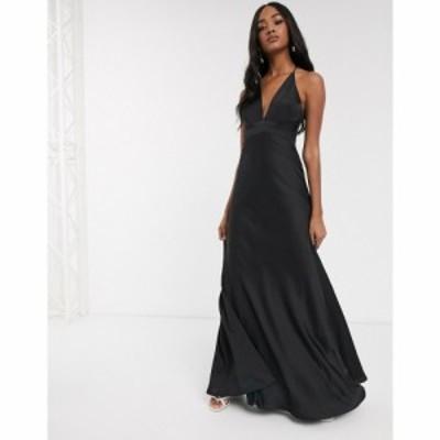 エイソス ASOS EDITION レディース ワンピース キャミワンピ ワンピース・ドレス satin panelled cami maxi dress ブラック