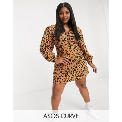 エイソス レディース ワンピース トップス ASOS DESIGN Curve mini shirt dress in brown leopard print