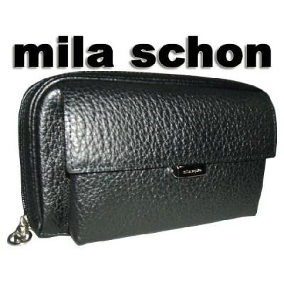 mila schon ミラ・ショ−ン メンズ NERO ネロ 牛革型押し加工 牛革ミニセカンドバッグ 黒 ブラック クロ ikt02
