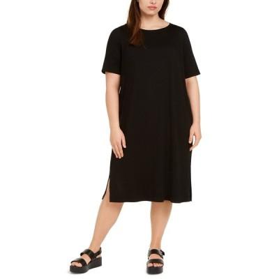 エイリーンフィッシャー ワンピース トップス レディース Plus Size Round-Neck Shift Dress Black