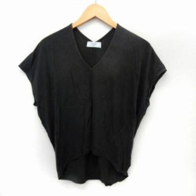 【中古】イエナ スローブ IENA SLOBE カットソー Tシャツ 半袖 Vネック シンプル テールカット チャコール /ST42