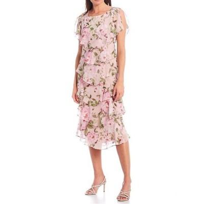 イグナイト レディース ワンピース トップス Floral Chiffon Short Sleeve Tiered Midi Dress