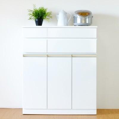 キッチンカウンター 食器棚 キャビネット グロス塗装 PEARL 幅82cm ( 送料無料 キッチンボード キッチン収納 間仕切り 完成品 キッチン
