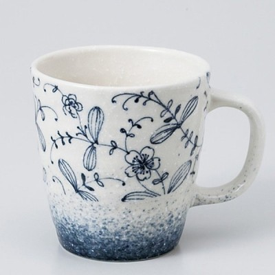 和食器 吹き唐草 ブルー マグカップ カフェ コーヒー 紅茶 珈琲 お茶 オフィス おうち 食器 陶器 おしゃれ うつわ