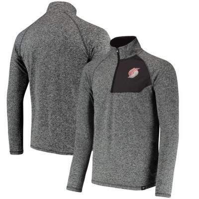 ポートランド・トレイルブレイザーズ Fanatics Branded Static Quarter-Zip Pullover ジャケット - Heathered Charcoal
