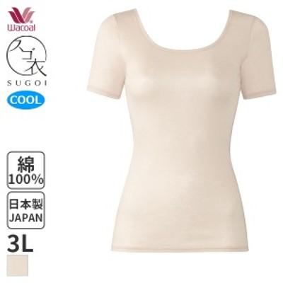 【A】25%OFF ワコール スゴ衣 天然素材プラス 肌さらさら Uネック 3分袖インナー(3Lサイズ)CLC270 [m_a]