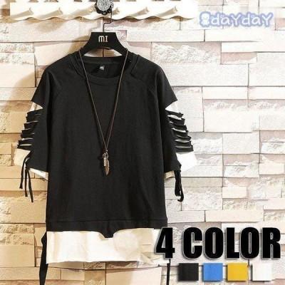 半袖Tシャツ トップス Tシャツ メンズ ミックスカラーTシャツ 春夏 メンズ用  Tシャツ 夏 メンズファッション 4色