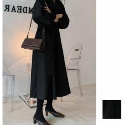韓国 ファッション レディース ワンピース 夏 春 カジュアル naloH433  バンドカラー 五分袖 ギャザー Aライン 清楚 シンプル コーデ 定