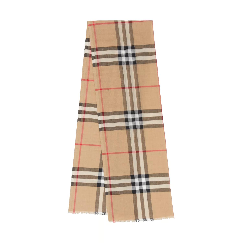 BURBERRY 輕盈格紋羊毛絲綢圍巾