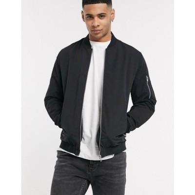 ジャック アンド ジョーンズ Jack & Jones メンズ ブルゾン ミリタリージャケット アウター Essentials zip through bomber jacket in black ブラック