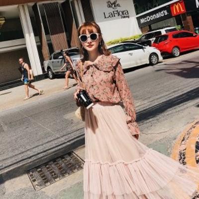 花柄とフリルが可愛い長そでのブラウスとスカートのセット 大人ガーリースタイルに最適!ピンク M