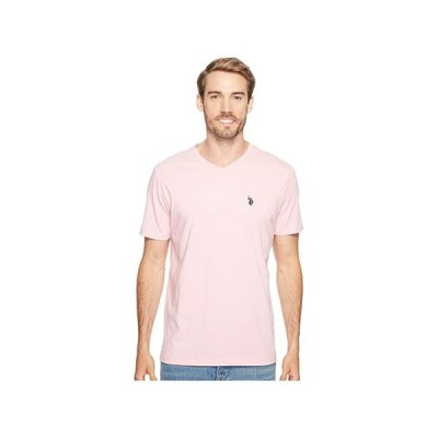 U.S. POLO ASSN. Short Sleeve Solid V-Neck T-Shirt メンズ シャツ トップス Pink Sunset Heather