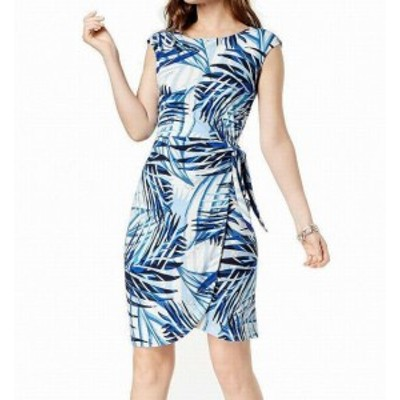 Jessica Howard ジェシカハワード ファッション ドレス Jessica Howard NEW Blue Womens Size 14P Petite Leaf-Print Sheath Dress
