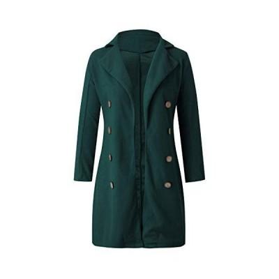(グリーン,XL)チェスターコート 膝丈 4つボタン テーラードジャケット 長袖 ロング丈 コート レディース スーツ?
