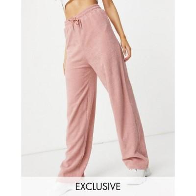 ニューガールオーダー New Girl Order レディース ボトムス・パンツ Exclusive Terry Towelling Drawstring Trousers Co-Ord In Blush Pink ピンク