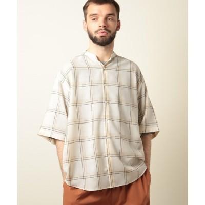 シャツ ブラウス チェック柄ビエラ織りバンドカラーハーフシャツ