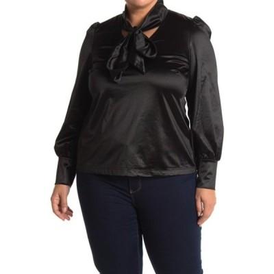 ヴェロモーダ レディース Tシャツ トップス Satin Neck Tie Blouse (Plus Size) BLACK