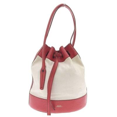 美品 バリー BALLY 現行ロゴ VANESSA ショルダーバッグ 巾着型 レザーポーチ付 レディース 赤×アイボリー 数回使用程度