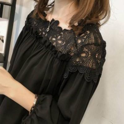 韓国 ファッション レディース トップス シャツ ブラウス 花柄 大きいサイズ パフスリーブ シフォン シンプル 無地 オフィス 通勤