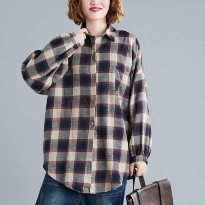 ブラウス レディース トップス シャツ チェック柄 長袖 綿麻混 コットンリネン 大きいサイズ ゆったり 40代 50代 コーデ