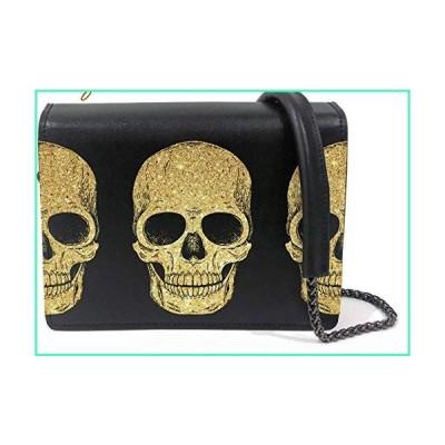 Genuine Leather Black Crossbody Bag for Women Messenger Handbag Wallet Shoulder Purse with Printed Design, Skulls, Regular並行輸入品