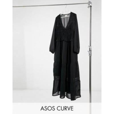 エイソス レディース ワンピース トップス ASOS DESIGN Curve shirred ruffle tiered maxi dress in black Black