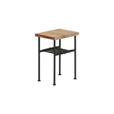 ds-1806893 アンティーク風 サイドテーブル/ミニテーブル 【幅30cm】 木製/杉古材×スチール 収納棚付き 木目調 〔リビング〕 (ds1806893)