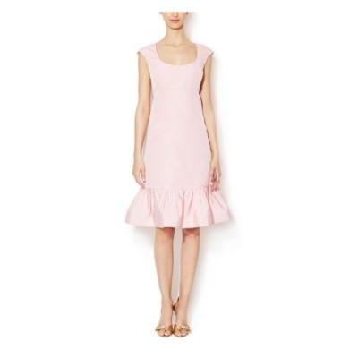 ワンピース オスカーデラレンタ Oscar de la Renta Pale Pink Dress Faille Flounce Hem Silk 4