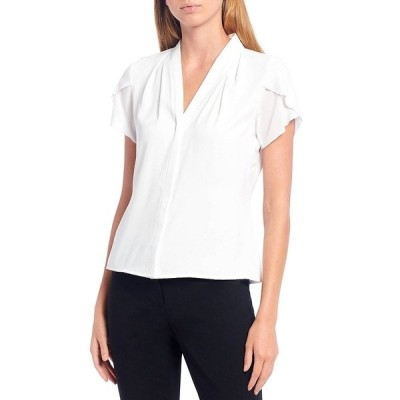 カルバンクライン レディース シャツ トップス Petite Size V-Neck Tulip Sleeve Blouse White