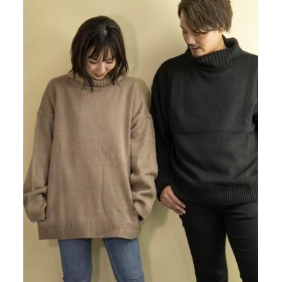 (Nylaus/ナイラス)SKKONE 5G 天竺編み ビッグシルエット タートルネック ニットセーター/ユニセックス ベージュ