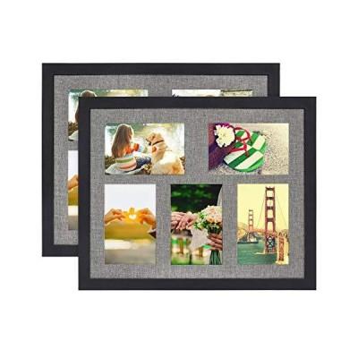 DLQuarts 12x15 リネンフォトフレーム コラージュ 無垢材&HDガラスフォトフレーム 2個セット 壁やテーブルに 5つの開口部 4x6 マ