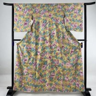 小紋 優品 花柄 染分け 黄色 袷 161cm 63cm S 正絹 中古