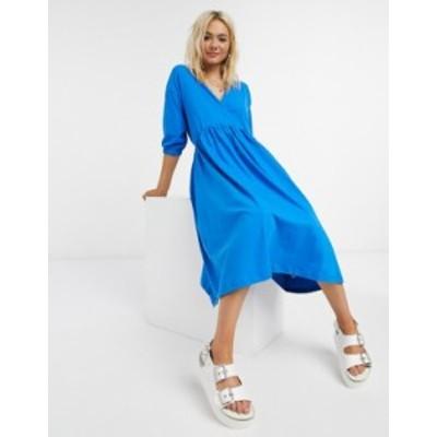 エイソス レディース ワンピース トップス ASOS DESIGN midi smock dress with wrap top in bright blue Electric blue