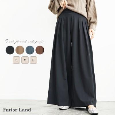 ワイドパンツ プリーツ パンツ ウエストゴム 大きいサイズ オフィスカジュアル 通勤 韓国 ファッション タックプリーツワイドパンツ