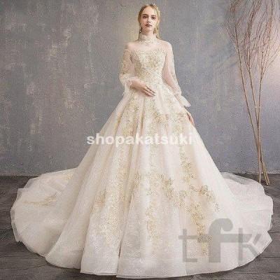 ウェディングドレス ウェディングドレス白 パーティードレス 刺繍レース 花嫁ロングドレス 簡約 結婚式 露背 二次会 エレガント ビーズ お呼ばれ 挙式