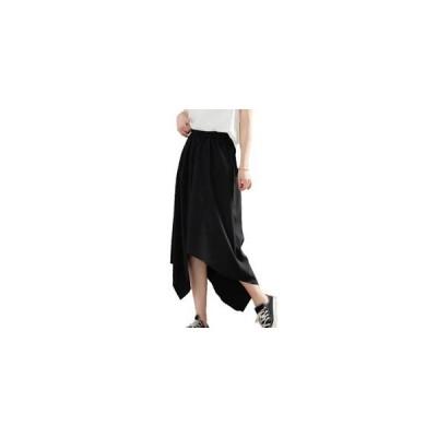 スカート レディース ミモレ丈スカート Aライン 裾不規則 無地 ブラック 大きいサイズ ゆったり 着痩せ 通勤 レトロ オシャレ 夏 夏物 新作 2020