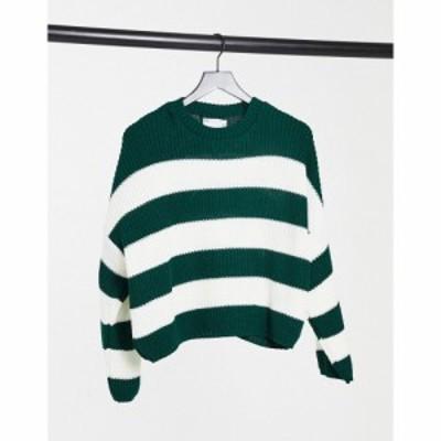 エイソス ASOS DESIGN レディース ニット・セーター トップス crew neck boxy jumper with multi stripes in green グリーンストライプ