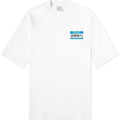 ヴェトモン VETEMENTS メンズ Tシャツ トップス My Name Is Oversized Tee White