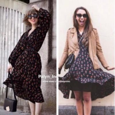 ファッション ドレス RARE_NWT ZARA 2017 Woman premium BLACK FLORAL PRINTED MIDI DRESS M L