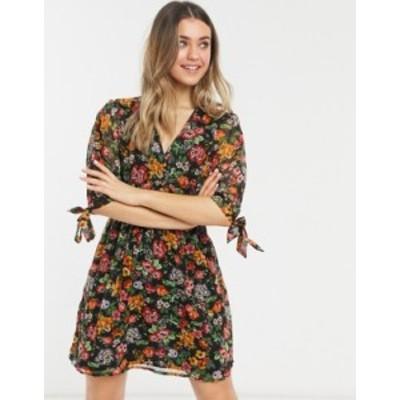 ニュールック レディース ワンピース トップス New Look tie sleeve button front mini dress in black ditsy pattern Yellow pattern