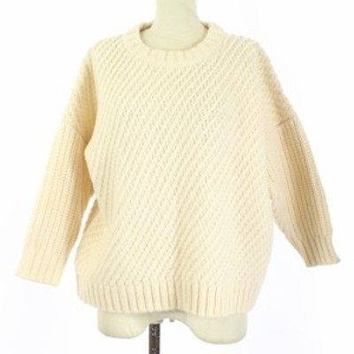 【中古】グランマママドーター GRANDMA MAMA DAUGHTER セーター ニット 七分袖 0 S アイボリー /SR レディース