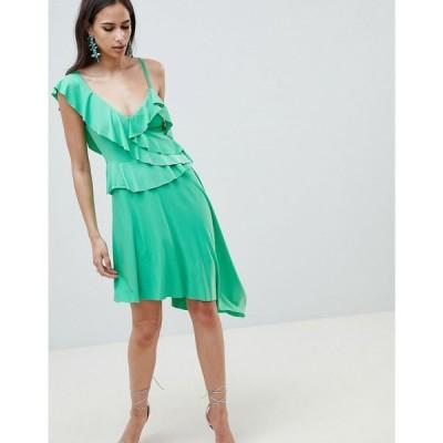 エイソス レディース ワンピース ワンピース・ドレス DESIGN asymmetric ruffle soft midi dress Green