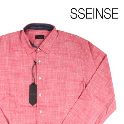 【L】 SSEINSE センス 長袖シャツ メンズ ドット レッド 赤 並行輸入品 カジュアルシャツ