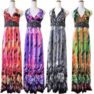DressAngelo/キャバ/キャバドレス/ナイトドレス/着やすさ抜群 ケミカルフラワー柄ハイウエストロングキャバドレス[6002]