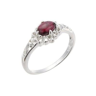 アクセサリーショップピエナ オーバル形天然石 シルバー925製 リング 指輪 小指 レディース ガーネット 13号