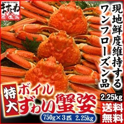 かに カニ 蟹 特大ボイルずわい蟹姿750g×3尾 丸ごとズッシリ2.25kg 送料無料 カニ かに ずわい ズワイ 蟹 のし可
