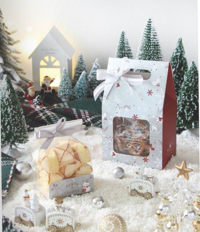 【嚴選SHOP】台灣製 聖誕房屋型鏤空提盒 手提紙盒 包裝盒 禮物盒 餅乾糖果盒 耶誕包裝 紙盒 聖誕節包裝【X119】