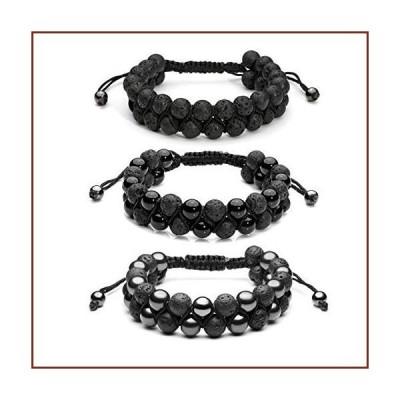 Top Plaza 3 Pcs Men Women 8mm Lava Rock Stone Aromatherapy Essential Oil Diffuser Bracelets Braided Rope Natural Stone Yoga Beads Bracelet -