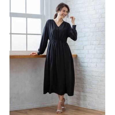 組曲/クミキョク 【PRIER】ボリュームスリーブVネックギャザーロング ドレス ブラック系 3